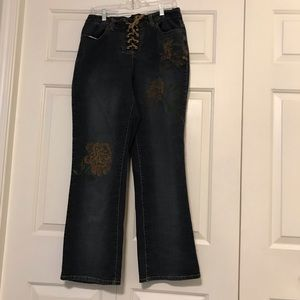 Venezia Jeans - Venezia Rope Tie Distressed Pattern Jeans
